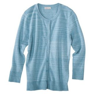 Merona Womens Ultimate 3/4 Sleeve Crew Neck Cardigan   Turquoise Heather   XXL