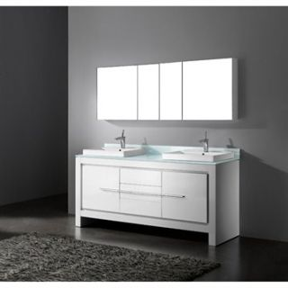 Madeli Vicenza 72 Double Bathroom Vanity   Glossy White