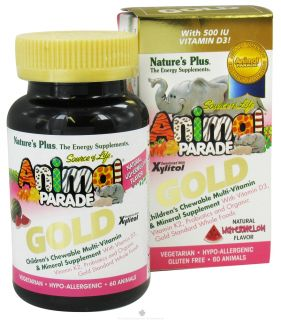 Natures Plus   Source of Life Animal Parade Gold Childrens Chewable Multi Vitamin & Mineral Natural Watermelon Flavor   60 Chewable Tablets