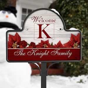 Holiday Poinsettias Personalized Yard Stakes