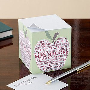 Personalized Teachers Note Pad Cube   Apple Scroll