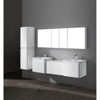 Madeli Euro 72 Double Bathroom Vanity with Integrated Basins   Glossy White