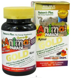 Natures Plus   Source of Life Animal Parade Gold Childrens Chewable Multi Vitamin & Mineral Natural Assorted Cherry, Orange, Grape Flavors   60 Chewable Tablets