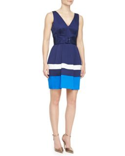 Womens sawyer sleeveless belted colorblock dress, french navy/turquoise/white