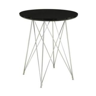 40.75 in. H Glossy Black and Chrome Metal Bar Table I 2347