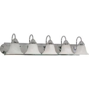 Glomar Ballerina 5 Light Polished Chrome Vanity with Alabaster Glass Bell Shades HD 319