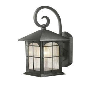 Hampton Bay Wall Mount 1 Light Outdoor Aged Iron Lantern Y37029 151