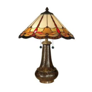 Dale Tiffany 23.5 in. Beige Amber Jewels Art Glass Table Lamp TT11019