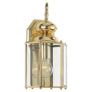 Sea Gull Lighting Classico Collection 1 Light Outdoor Brass Wall Lantern 8509 02
