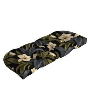 Hampton Bay Black Tropical Blossom Tufted Outdoor Bench Cushion JC19393X 9D1