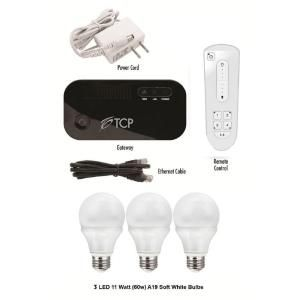 TCP Connected Smart LED Light Bulb Starter Kit with 3 A19 LED Light Bulbs & Remote LCS3LD11