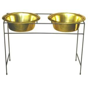 Platinum Pets 12 Cup Wrought Iron Modern Diner Dog Stand with Extra Wide Rimmed Bowls in Gold MDDS96GLD
