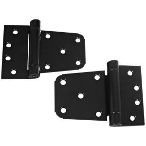 National Hardware 3 1/2 in. Black Heavy Duty Auto Close Gate Hinge Set V279 3 1/2 HY GT HGE BLK