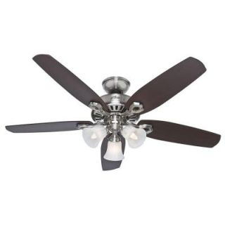 Hunter Builder Plus 52 in. 3 Light Brushed Nickel Ceiling Fan 53237