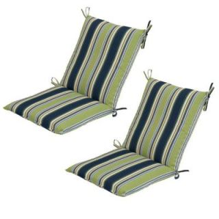 Hampton Bay Burkester Stripe Mid Back Outdoor Chair Cushion (2 Pack) 7410 02002100