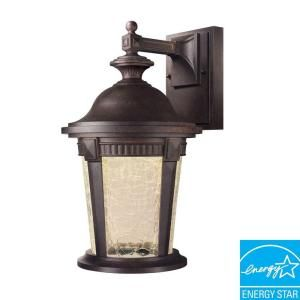 Hampton Bay Basilica Collection Wall Mount Outdoor Mystic Bronze 9 in. LED Lantern HB7044LEDP 293