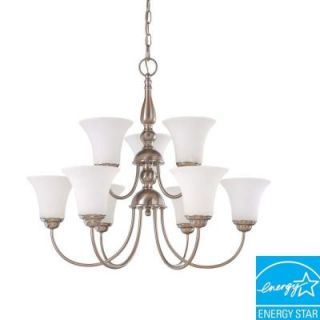 Glomar Dupont 9 Light Hanging Brushed Nickel Chandelier HD 1903