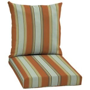 Hampton Bay Fontina Stripe 2 Piece Pillow Back Outdoor Deep Seating Cushion Set AD20067B 9D1