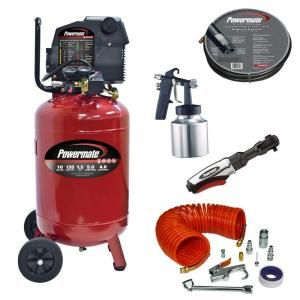 Powermate 10 Gal. Portable Vertical Air Compressor with Accessories VLP1581019.KIT