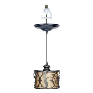 Worth Home Products 1 Light Brushed Bronze Instant Pendant Light Conversion Kit and Overlay with Linen Moss Shade CSN 0404 4 1