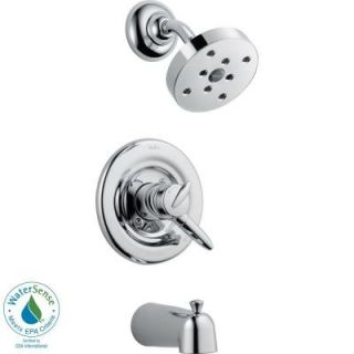 Delta Grail 1 Handle 1 Spray Tub and Shower Faucet Trim Kit in Chrome featuring H2Okinetic (Valve Not Included) T17485 H2O