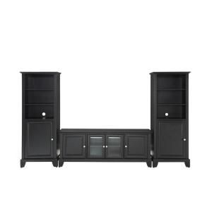 Crosley Newport Black Low Profile TV Stand and 2 Audio Piers KF100010CBK