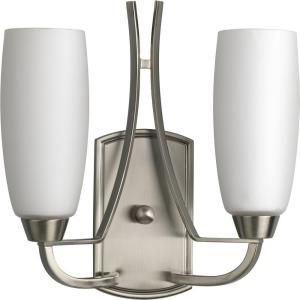 Progress Lighting Wisten Collection Brushed Nickel 2 light Wall Bracket P7127 09