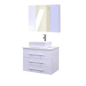 Design Element Portland 30 in. Single Vanity in White with Carrara White Marble Vanity Top and Mirror in Mint DEC071D W