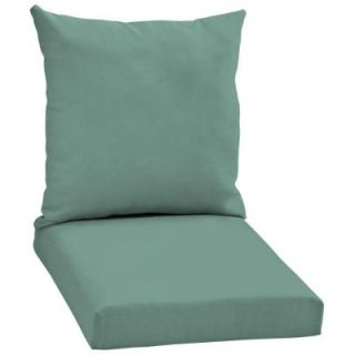 Hampton Bay Turquoise Solid 2 Piece Pillow Back Outdoor Deep Seating Cushion Set DISCONTINUED WC06067B 9D1