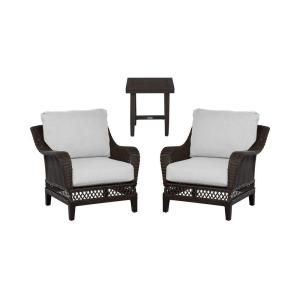 Hampton Bay Woodbury 3 Piece Patio Chat Set with Bare Cushion DY9127 3PC B