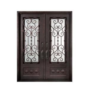 Iron Doors Unlimited Vita Francese 3/4 Lite Painted Antique Copper Decorative Wrought Iron Entry Door IV6298RSCS