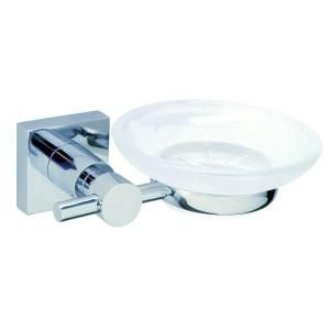 No Drilling Required Hukk Wall Mount Soap Dish Holder with Frosted Glass in Chrome HU123 CHR