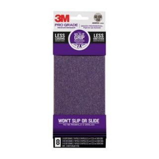 3M 3.66 in. x 9 in. Pro Grade 60, 100, 150 Grit No Slip Grip Sandpaper (8 Sheets) 12500P G