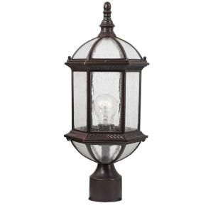 Design Traditional Wall Mount 19 in. Outdoor Old Bronze Post Light with Clear Seedy Glass Shade 18005 342