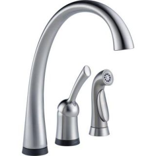 Delta Pilar Waterfall Single Handle Side Sprayer Kitchen Faucet with Touch2O Technology in Arctic Stainless 4380T AR DST