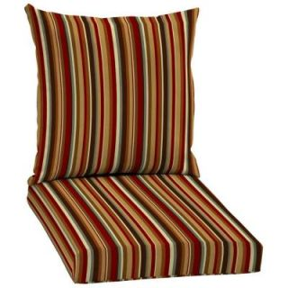 Hampton Bay Rustic Stripe 2 Piece Pillow Back Outdoor Deep Seating Cushion Set AC18067B 9D1