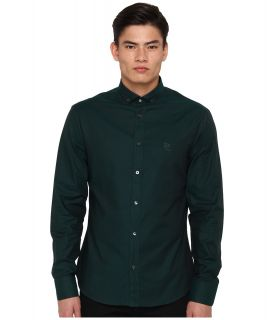 McQ Solid Cotton Harness Shirt Mens Long Sleeve Button Up (Green)