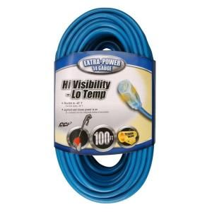 Coleman Cable 100 ft. 14/3 SJTW Outdoor Extension Cord with Power Indicator Light 024698806