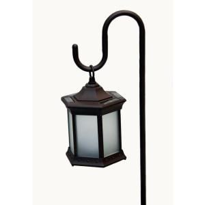 Six Sided Frosted Glass Solar Lantern with Shepherds Hook SL FGSH