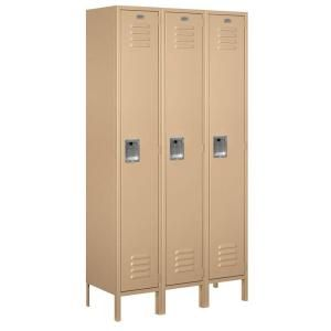 Salsbury Industries 51000 Series 45 in. W x 78 in. H x 15 in. D Single Tier Extra Wide Metal Locker Unassembled in Tan 51365TN U