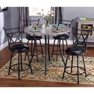 Jaxx Collection 5 Piece Adjustable Height Dining Set, Black Furniture