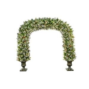 National Tree Company 8.5 ft. Wintry Pine Archway with Cones, Red Berries and Snowflakes in Dark Bronze Fiberglass Pot with 900 Clear Lights WP1 314 85