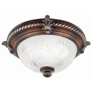 Hampton Bay Bercello Estates 2 Light Volterra Bronze Flush Mount 08058