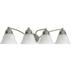 Glomar Empire 4 Light Brushed Nickel Vanity with Alabaster Glass Bell Shade HD 343