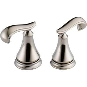 Pair of Cassidy French Curve Metal Lever Handles for Bathroom Faucet in Polished Nickel H298PN