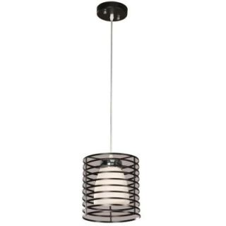 Hampton Bay Aranga Drum 1 Light Matte Black Mini Pendant 03270 2