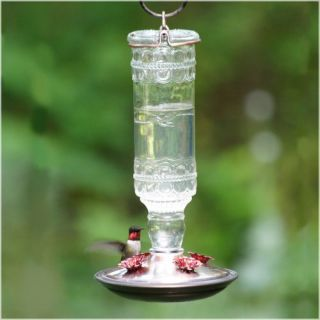 Clear Antique Bottle Hummingbird Feeder Landscape & Garden Decor