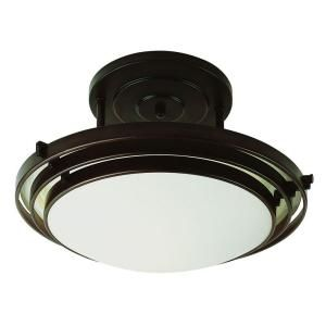 Filament Design Cabernet Collection 1 Light Oiled Bronze Semi Flush Mount with White Frosted Shade CLI WUP259101