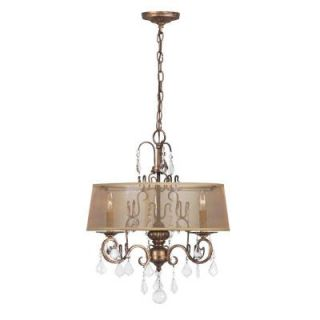 World Imports Belle Marie Collection 3 Light Hanging Antique Gold Chandelier WI194390