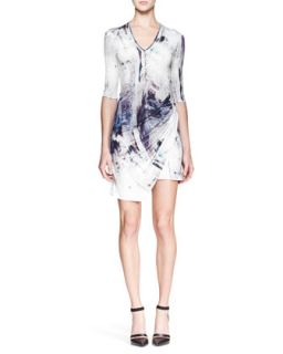 Womens Tidal Printed Jersey Dress   Helmut Lang
